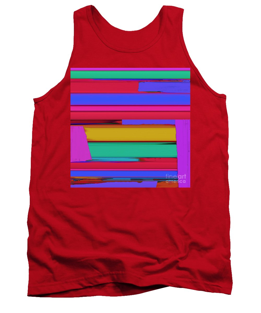 Linear Echo Tank Top featuring the digital art Linear Echo by Keith Mills