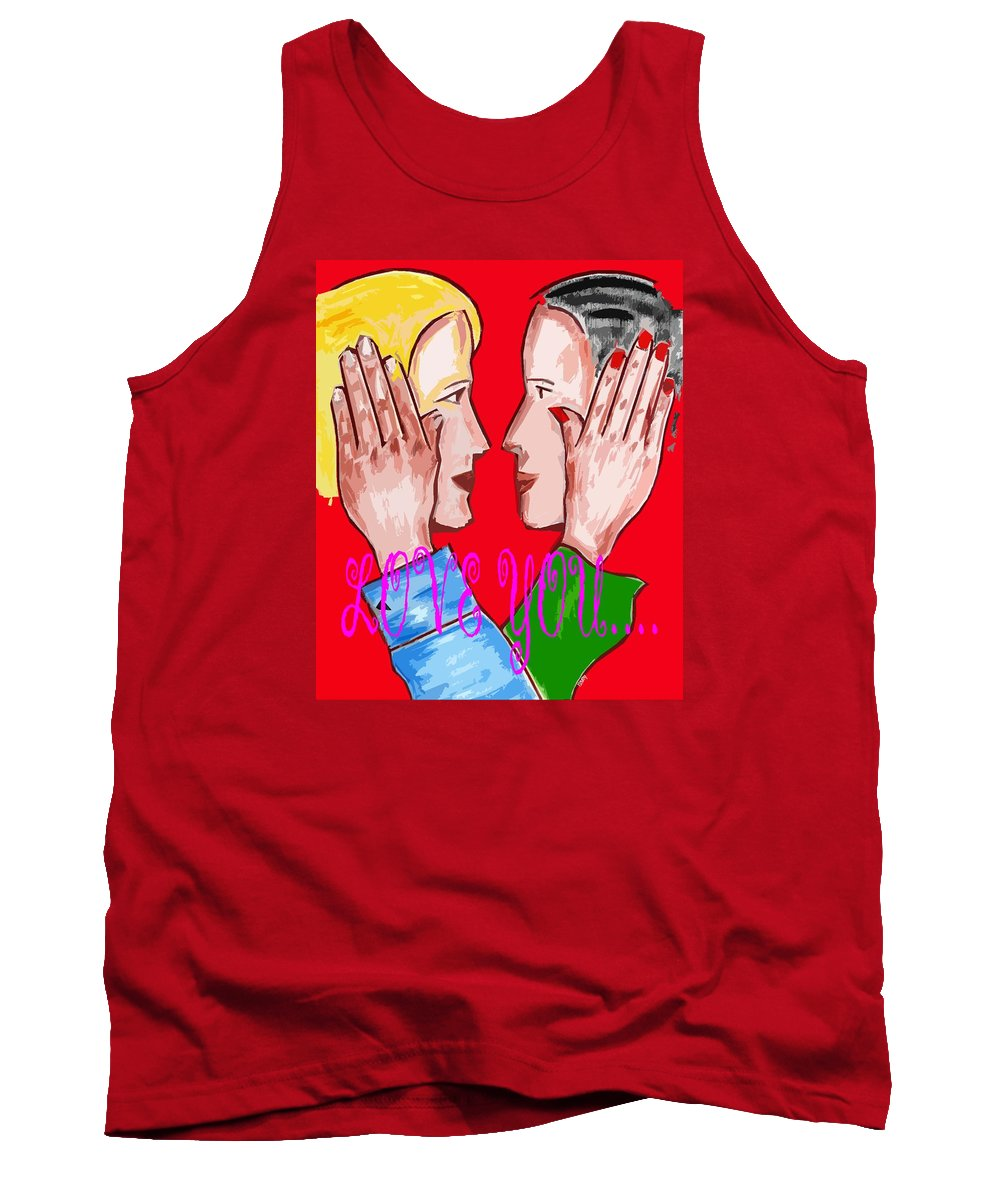 Romance Tank Top featuring the painting Love You 3 by Patrick J Murphy