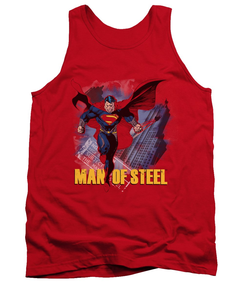 Man Of Steel Tank Top featuring the digital art Man Of Steel - Fly By by Brand A