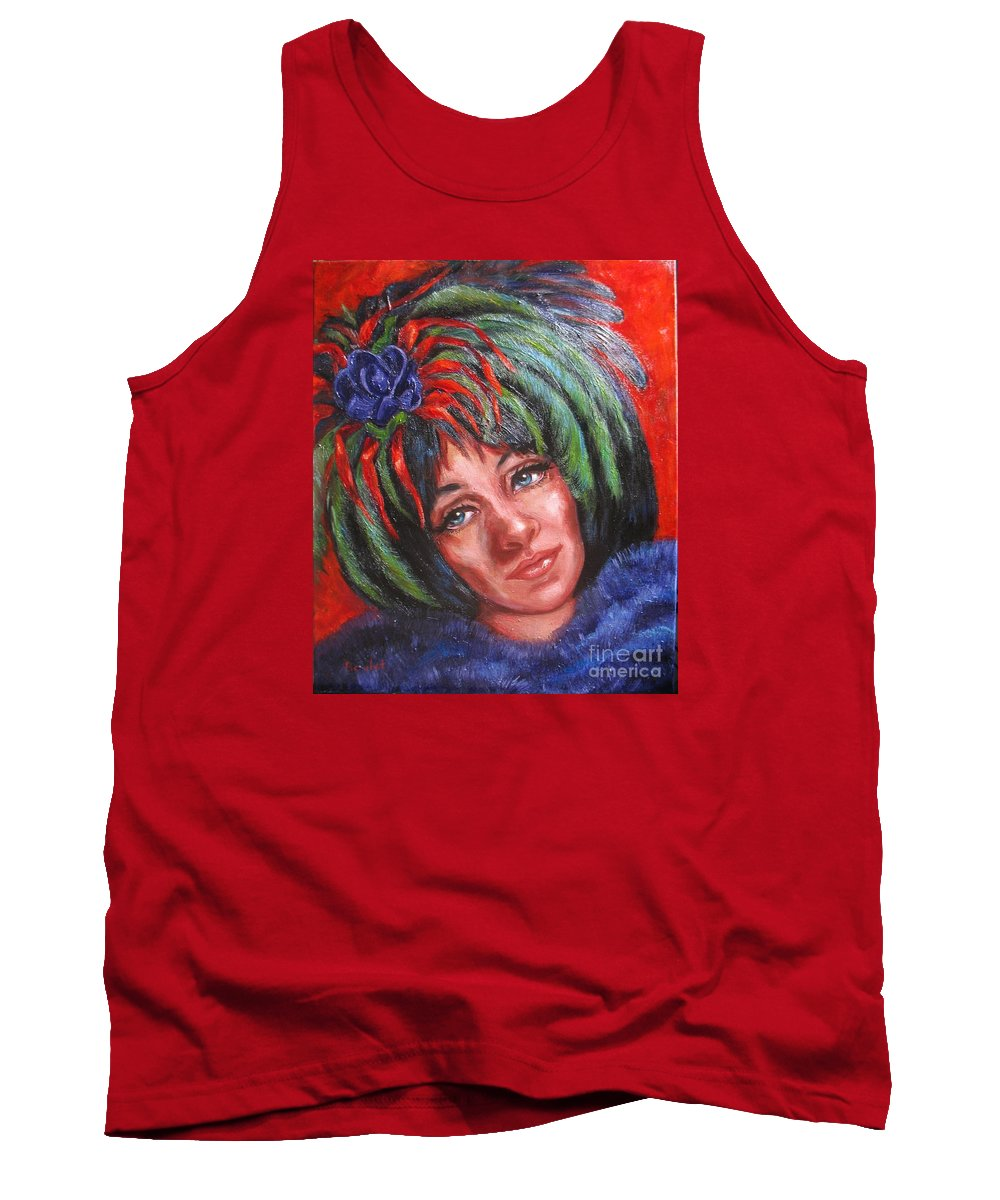 Female Tank Top featuring the painting Mardi Gras Girl by Beverly Boulet