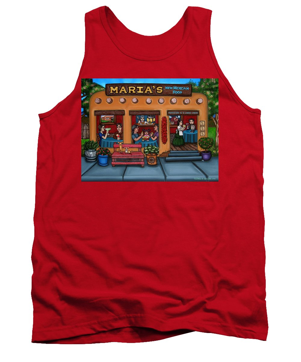 Folk Art Tank Top featuring the painting Maria's New Mexican Restaurant by Victoria De Almeida
