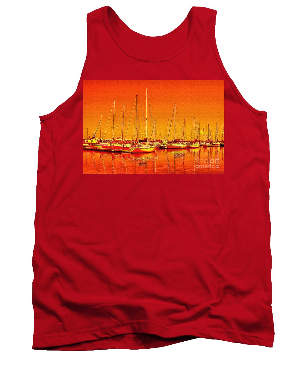 Marina Tank Top featuring the photograph Marina Reflections by Teresa Zieba