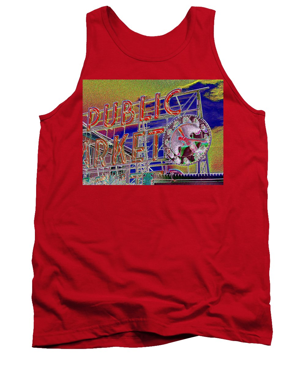 Seattle Tank Top featuring the digital art Market Clock 1 by Tim Allen