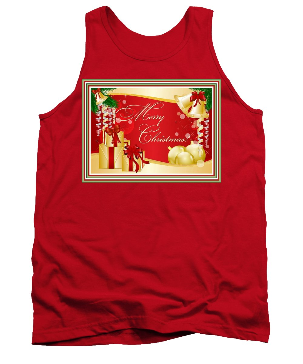 Christmas Tank Top featuring the digital art Merry Christmas Greeting With Gifts Bows And Ornaments by Taiche Acrylic Art