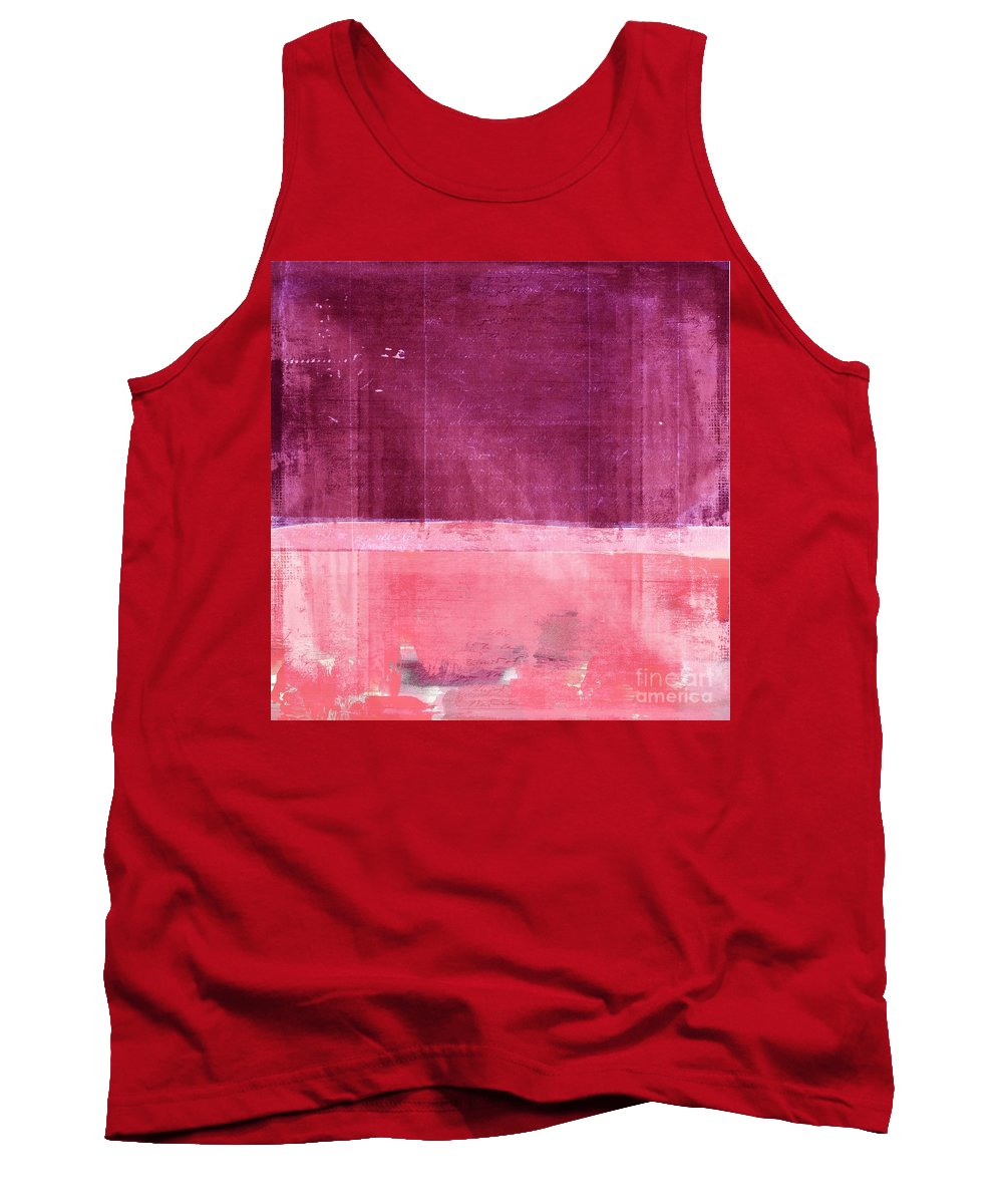 Pink Tank Top featuring the painting Minima - S02b Pink by Variance Collections