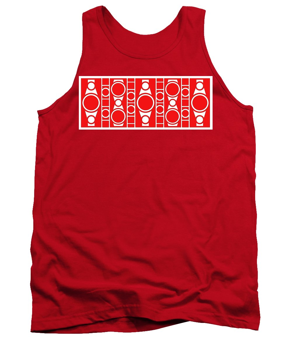 Red & White Tank Top featuring the digital art Modern Design II by Mike McGlothlen
