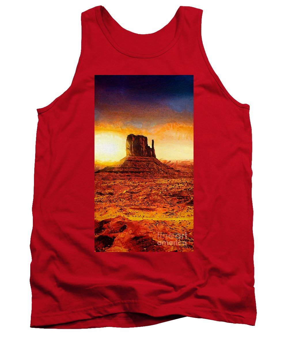 Monument Valley Tank Top featuring the painting Monument Valley by Mo T