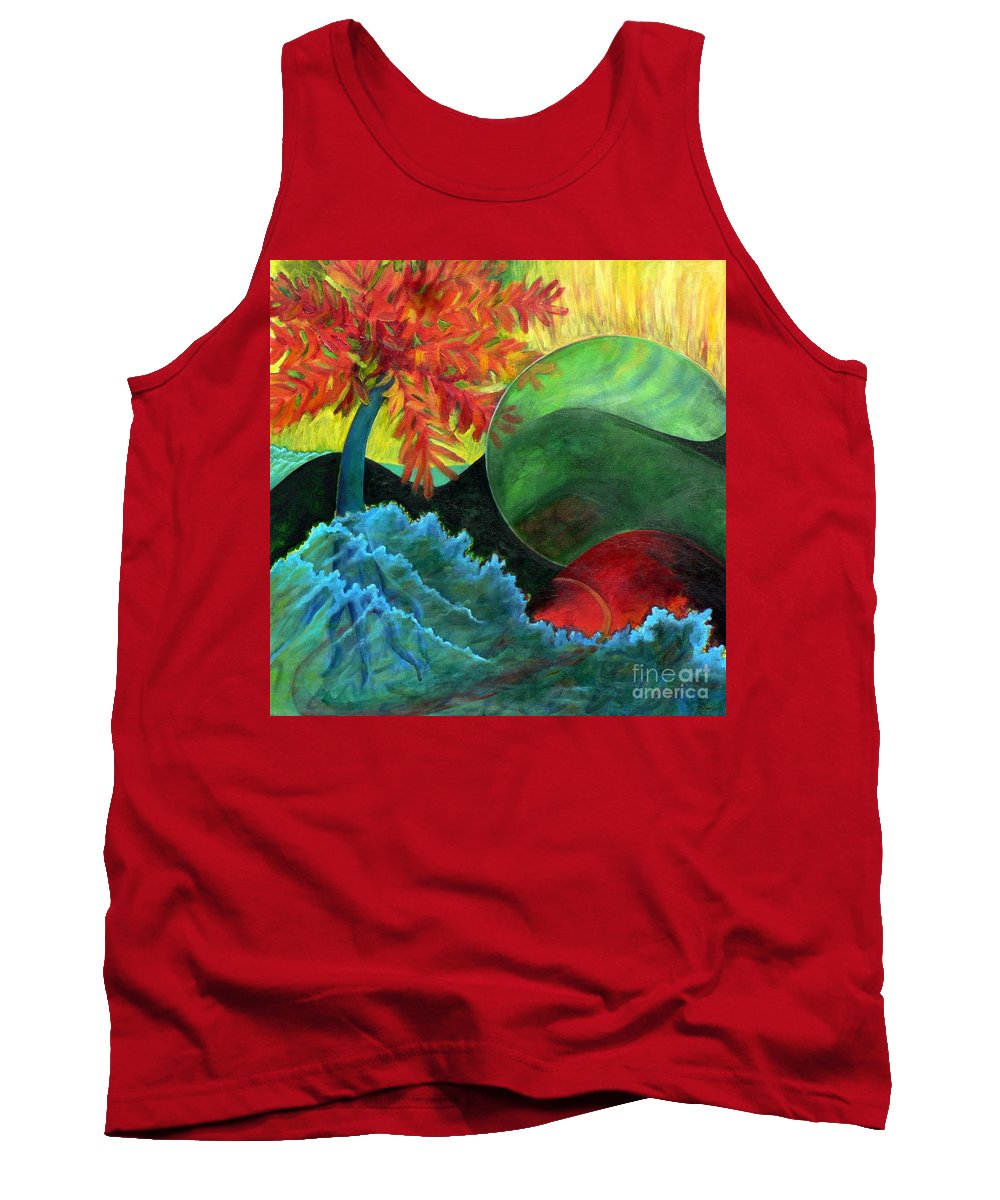 Surreal Landscape Tank Top featuring the painting Moonstorm by Elizabeth Fontaine-Barr