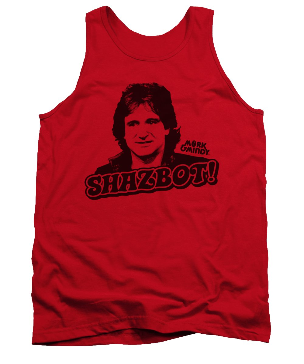 Mork And Mindy Tank Top featuring the digital art Mork And Mindy - Shazbot by Brand A