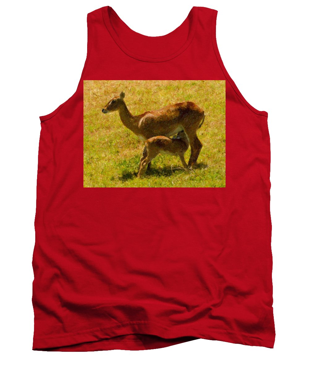 Deer Tank Top featuring the painting Mother And Child by Angela Stanton