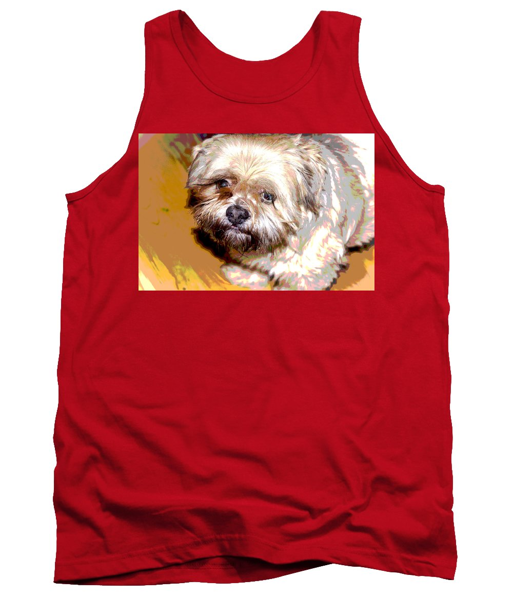 Digital Photo Tank Top featuring the photograph My Friend Lhasa Apso by Sergey Bezhinets