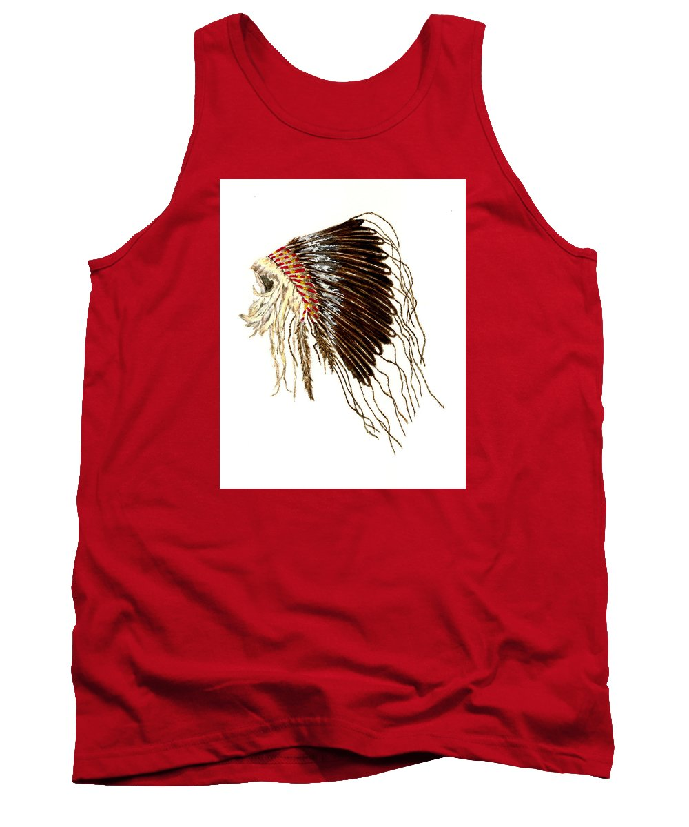 Native American Tank Top featuring the painting Native American War Bonnet - Plains Indians by Michael Vigliotti
