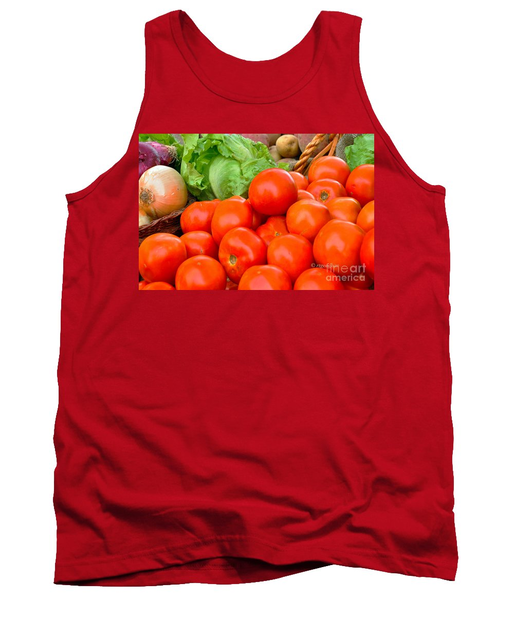 Vegetable Display Farm Market Tank Top featuring the photograph New Jersey Farm Market Goodness by Regina Geoghan