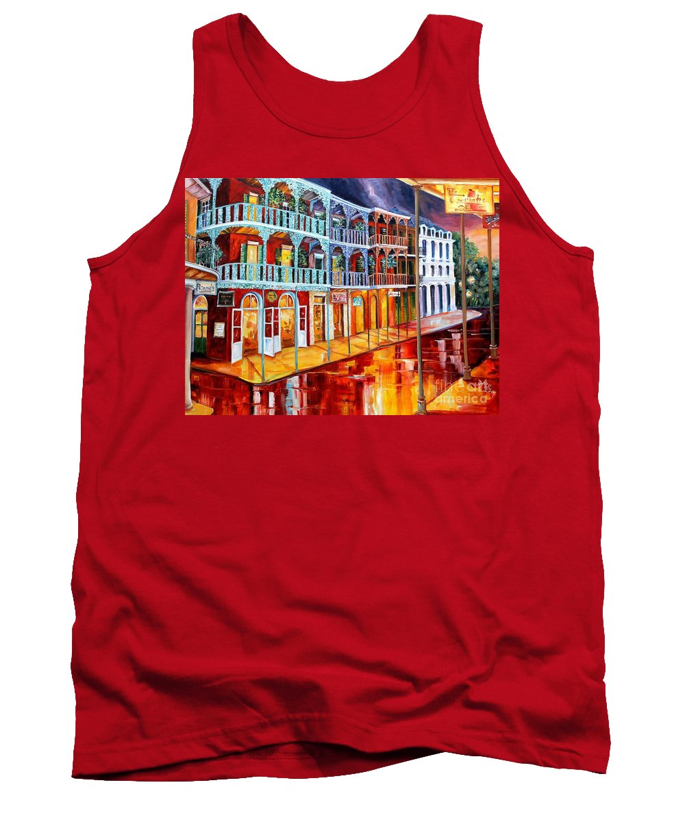 New Orleans Tank Top featuring the painting New Orleans Reflections In Red by Diane Millsap