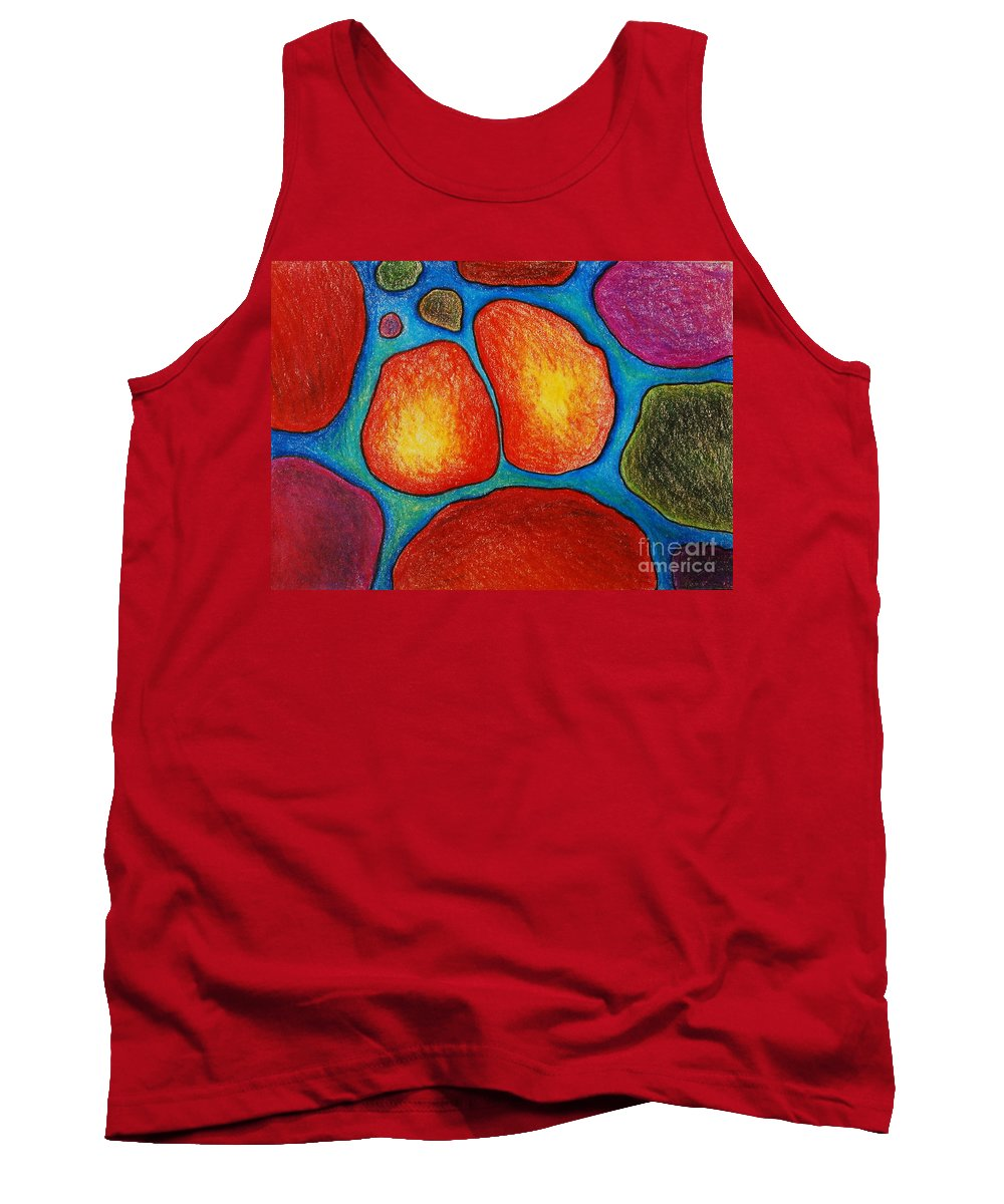 Colored Pencil Tank Top featuring the drawing 8 When Soul Mates Collide by Nancy Mueller