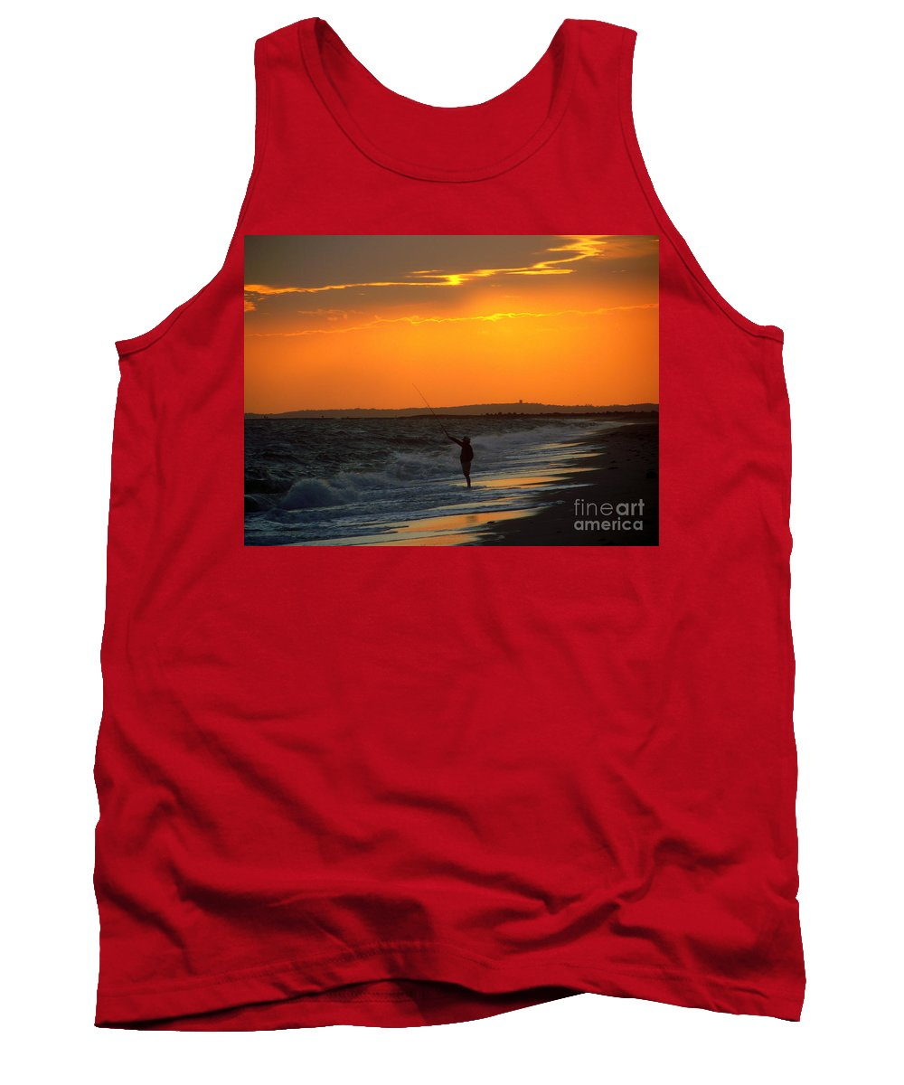 October Tank Top featuring the photograph October Fishing by CapeScapes Fine Art Photography