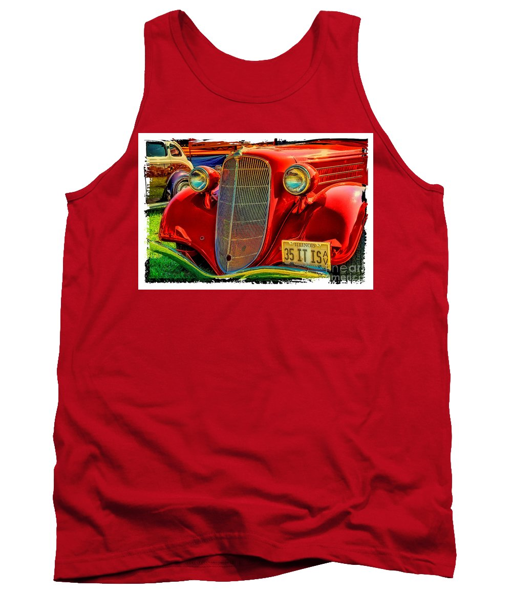 Old Red Car Tank Top featuring the photograph Old Red by Warrena J Barnerd