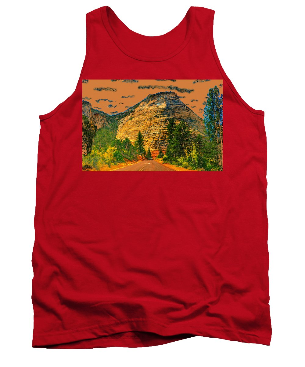 On The Road To Zion Tank Top featuring the painting On The Road To Zion by David Lee Thompson