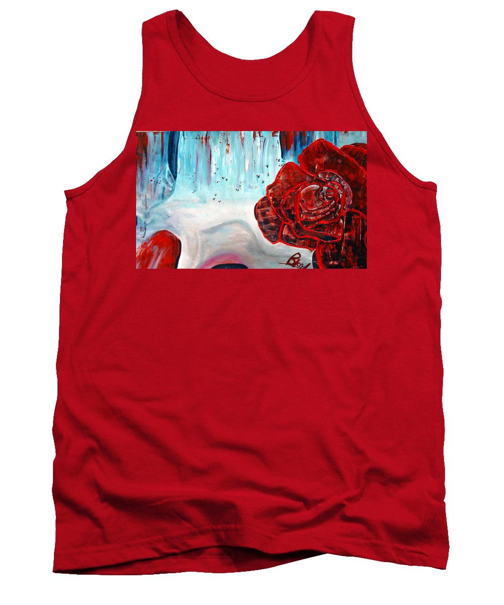Landscape Tank Top featuring the painting Op And Rose by Peggy Blood