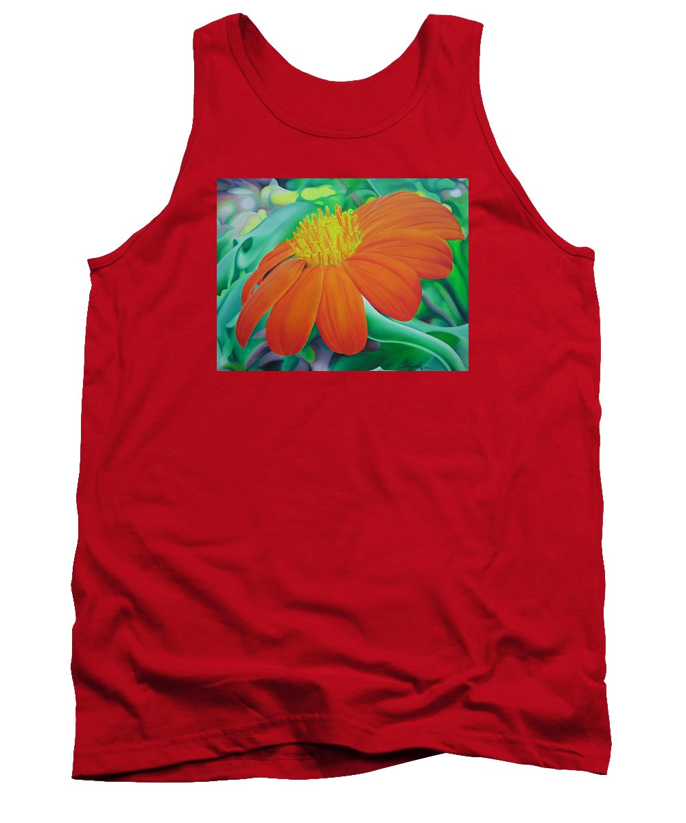 Flowers Tank Top featuring the painting Orange Flower by Joshua Morton