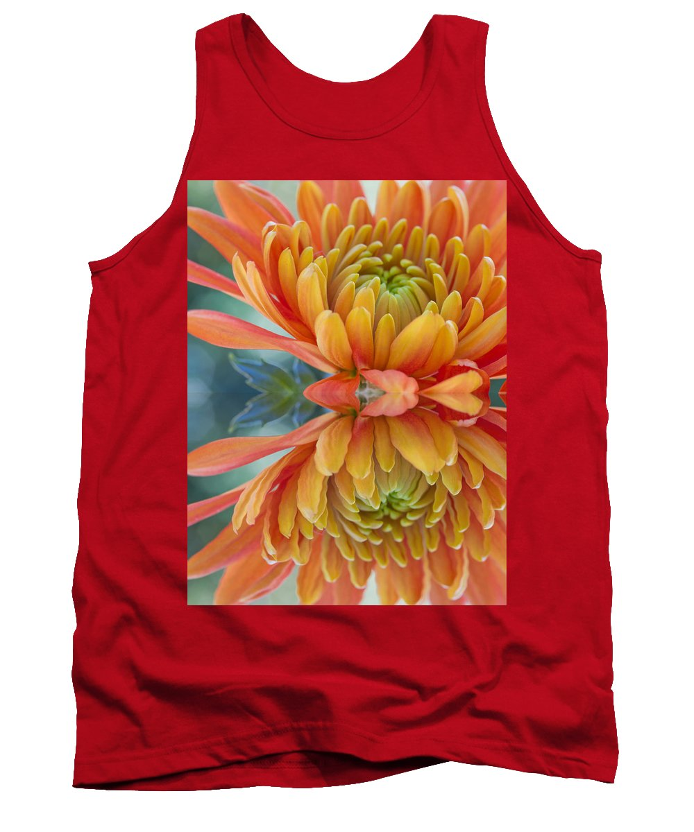 Autumn Tank Top featuring the photograph Orange Mum's Watery Reflection by Heidi Smith