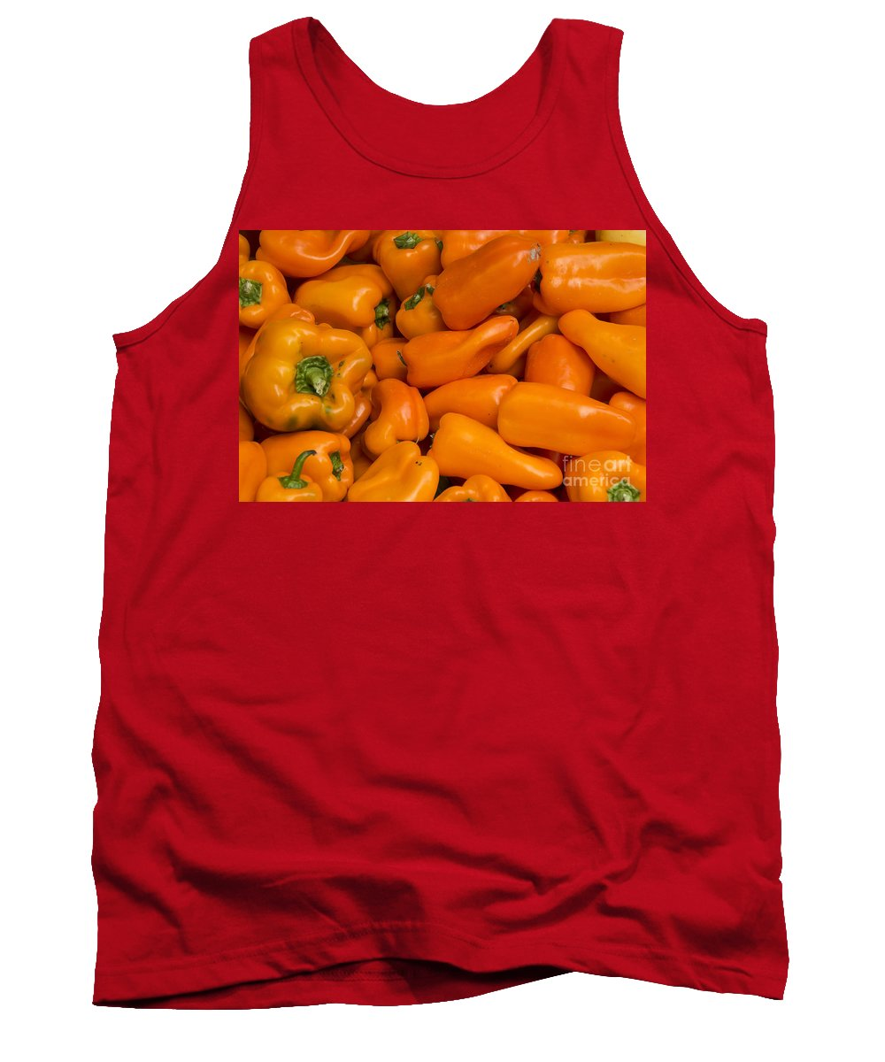 Union Square Greenmarket Pepper Orange Peppers Fruit And Vegetable Market Markets Fruits New York City Tank Top featuring the photograph Orange Peppers by Bob Phillips