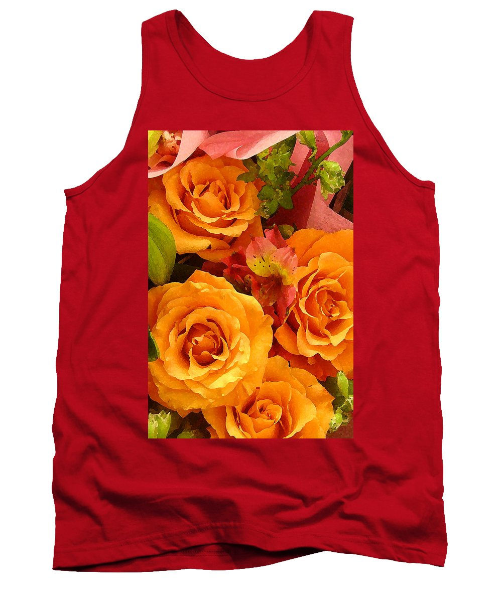 Roses Tank Top featuring the painting Orange Roses by Amy Vangsgard