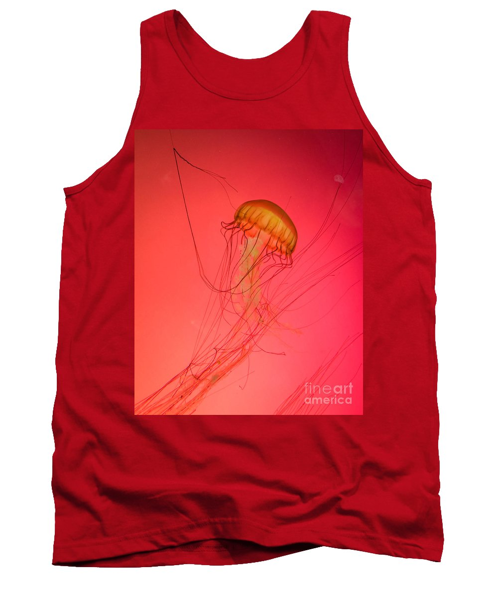Orange Jellyfish Tank Top featuring the photograph Orange Swimming Jellyfish by Silken Photography