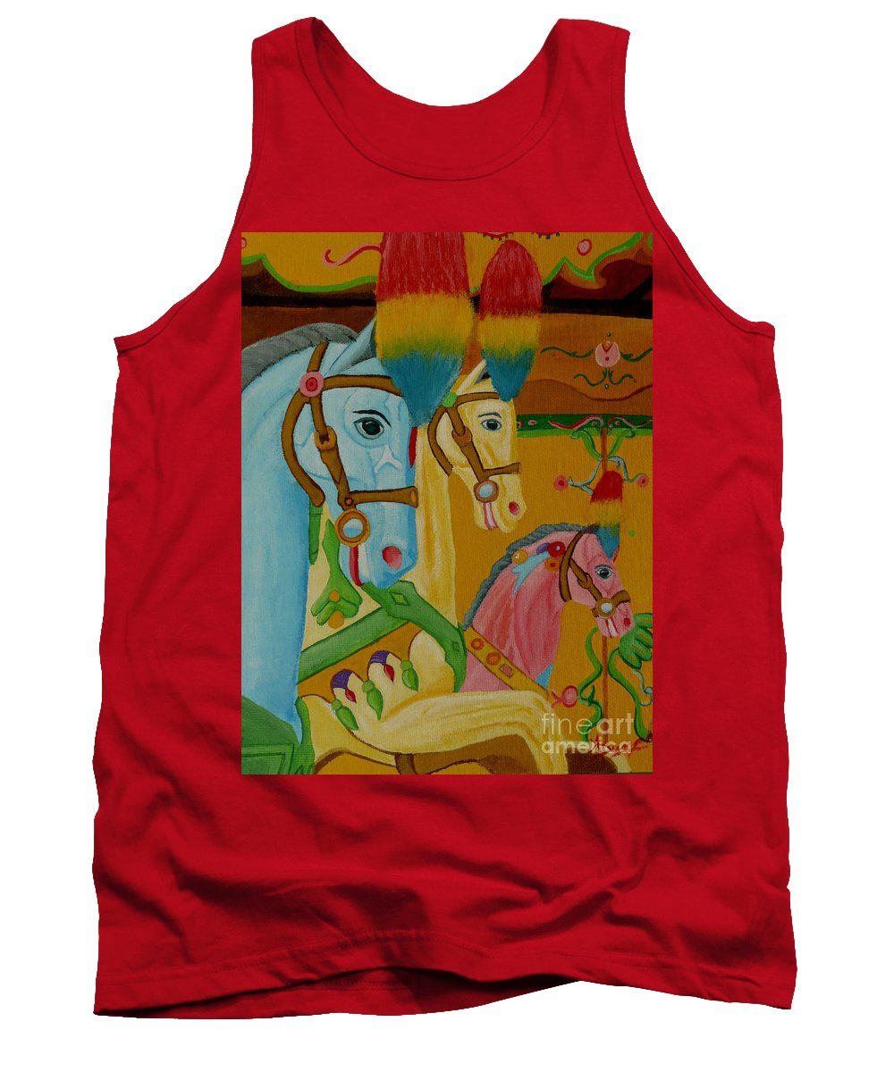 Carousel Tank Top featuring the painting Painted Ponies by Anthony Dunphy