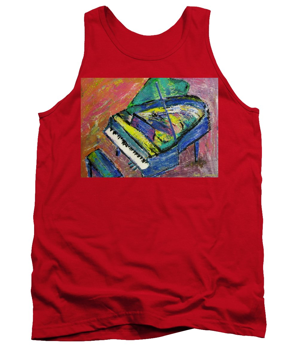 Piano Tank Top featuring the painting Piano Blue by Anita Burgermeister