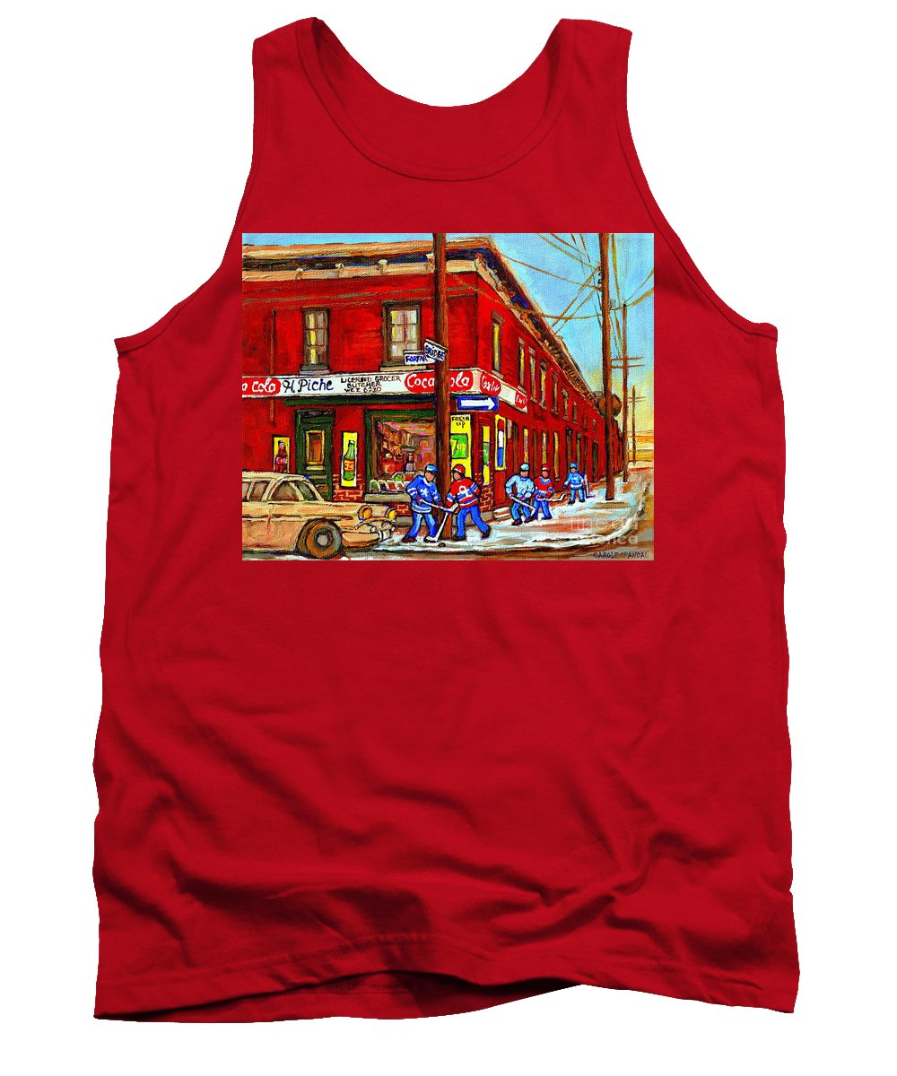 Piche's Corner Grocery Store Tank Top featuring the painting Piche's Grocery Store Bridge Street And Forfar Goosevillage Montreal Memories By Carole Spandau by Carole Spandau