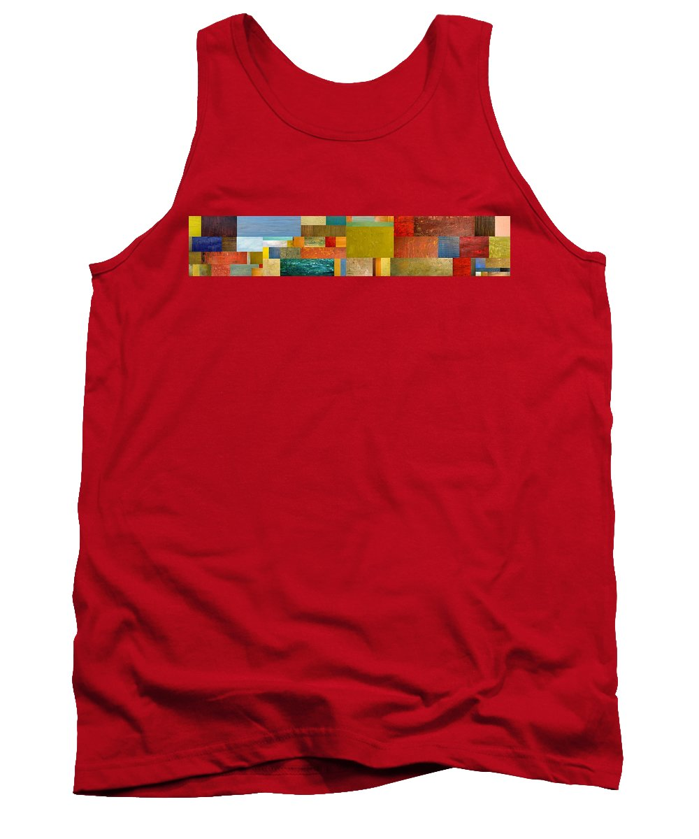 Skinny Tank Top featuring the painting Pieces Project Lv by Michelle Calkins