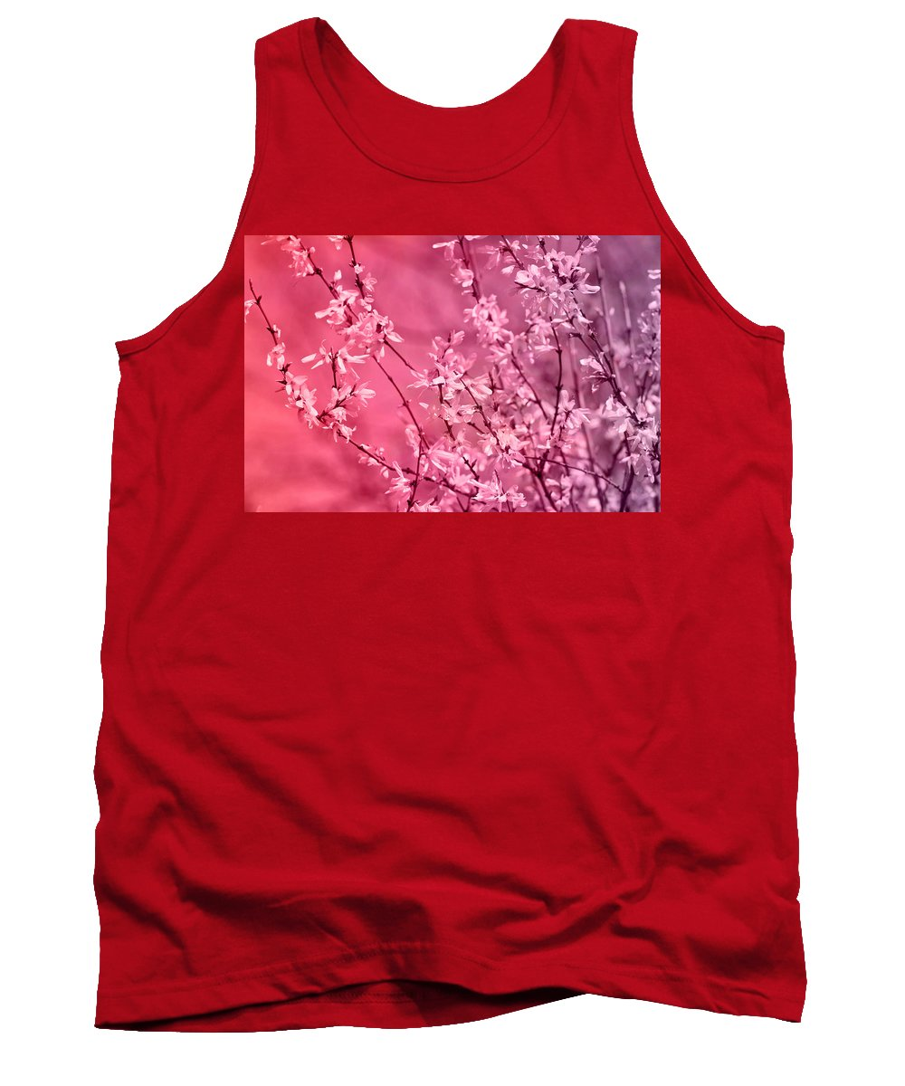 Pink Forsythia Tank Top featuring the photograph Pink Forsythia by Pati Photography