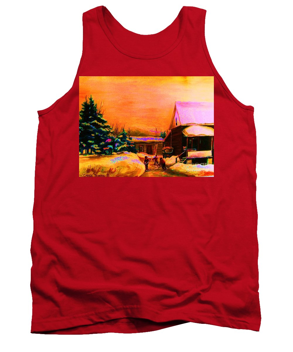 Hocket Art Tank Top featuring the painting Playing Until The Sun Sets by Carole Spandau