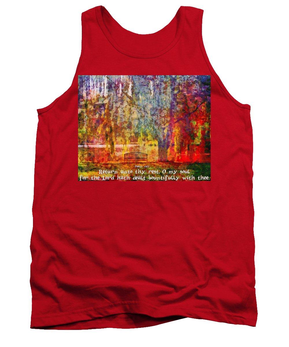 Jesus Tank Top featuring the digital art Psalm 116 7 by Michelle Greene Wheeler