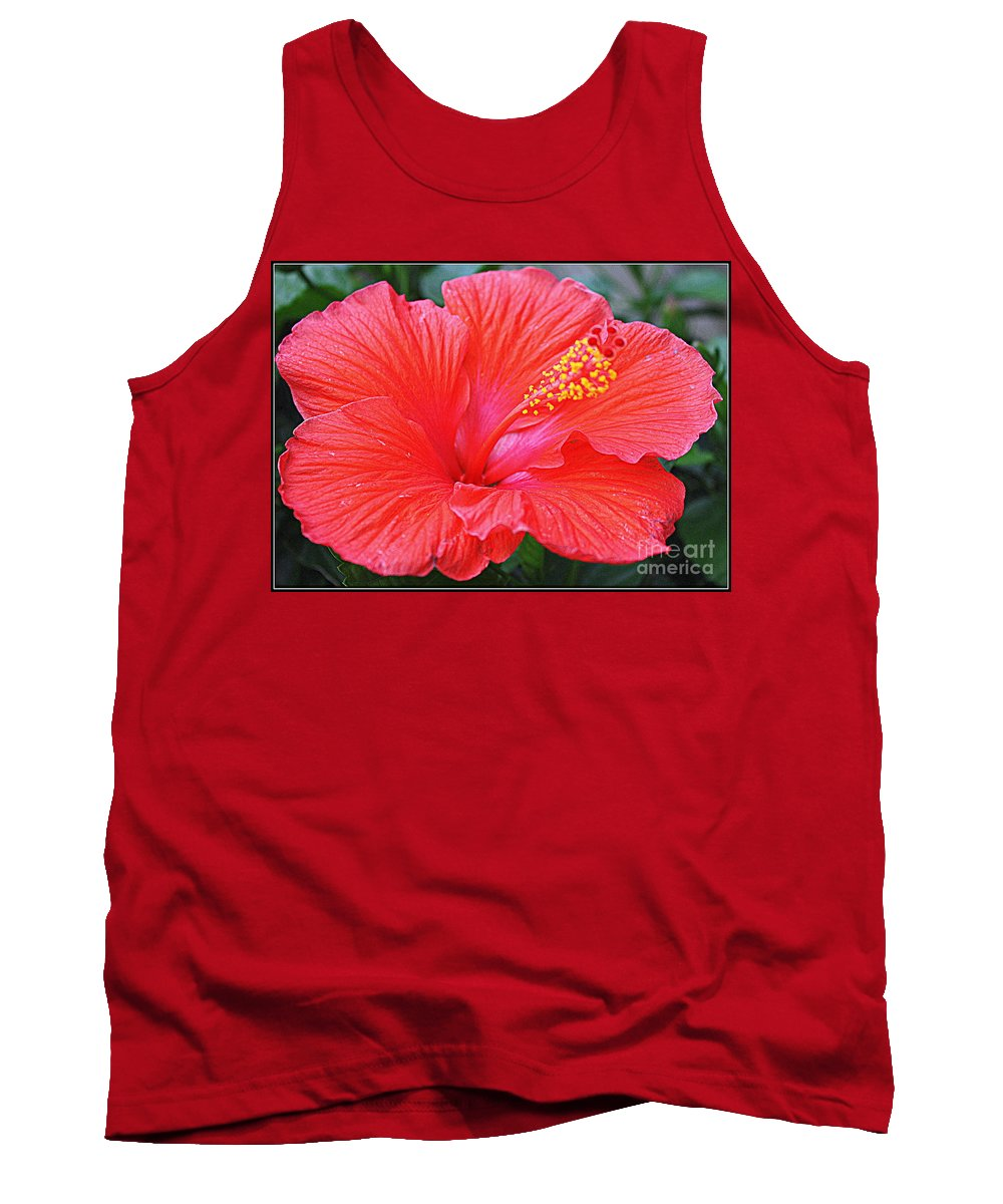 Radiant In Red - Red Hibiscus - Tropical Flowers - Nature - Hibiscus Tank Top featuring the photograph Radiant In Red by Dora Sofia Caputo Photographic Design and Fine Art