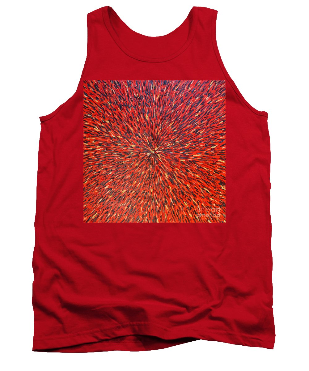 Abstract Tank Top featuring the painting Radiation Red by Dean Triolo