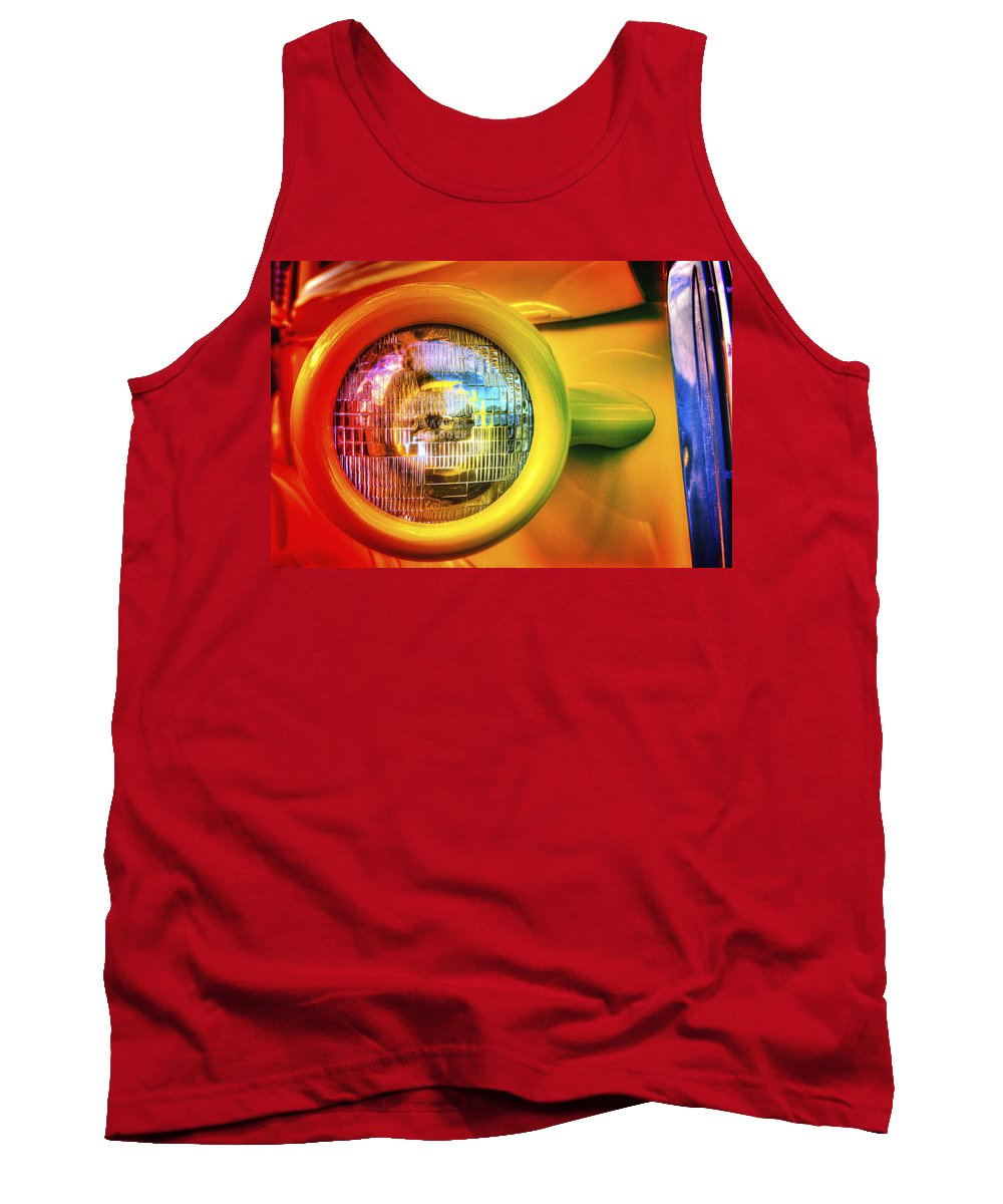 Headlight Tank Top featuring the photograph Rainbow Headlight by Richard J Cassato