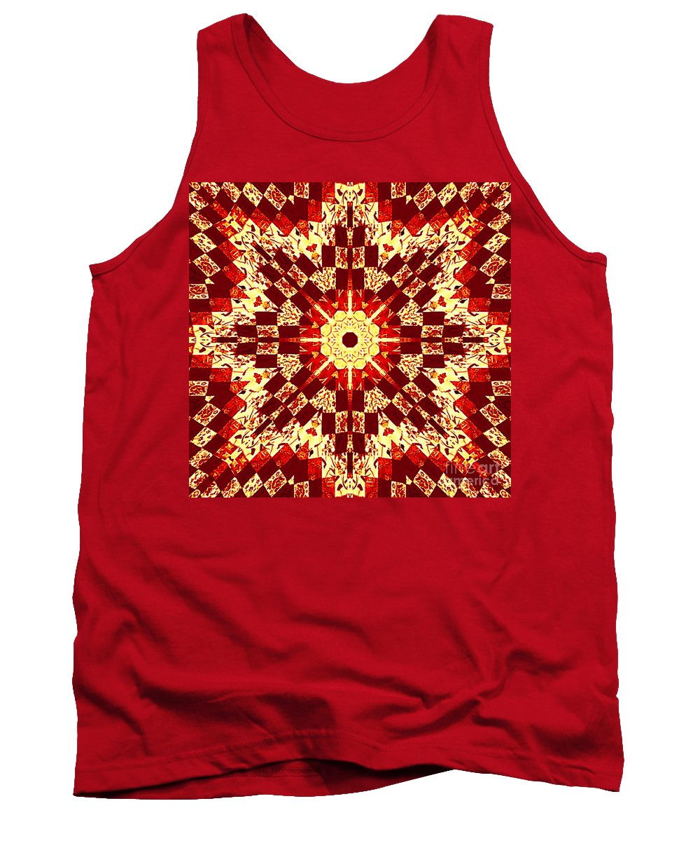 Patchwork Tank Top featuring the photograph Red And White Patchwork Art by Barbara Griffin