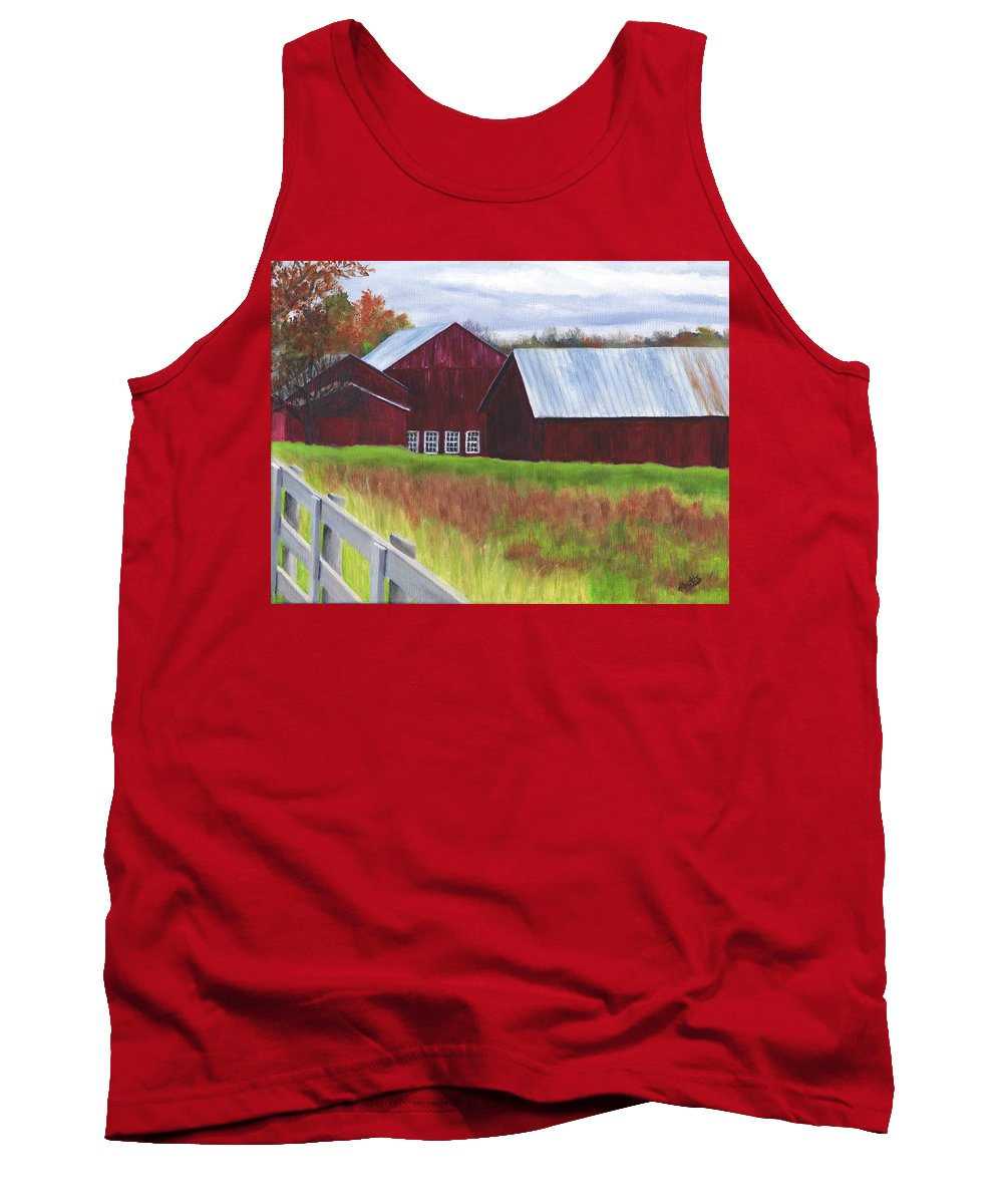 Barns Tank Top featuring the painting Red Barns At Freehold by Deborah Butts