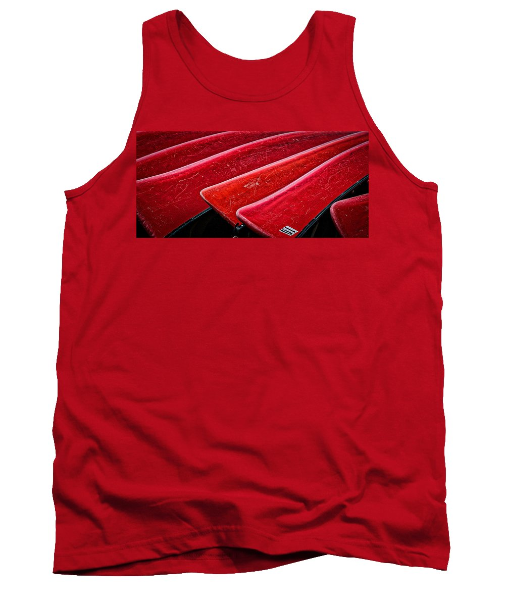 Canoe Tank Top featuring the photograph Red Canoes by Stuart Litoff