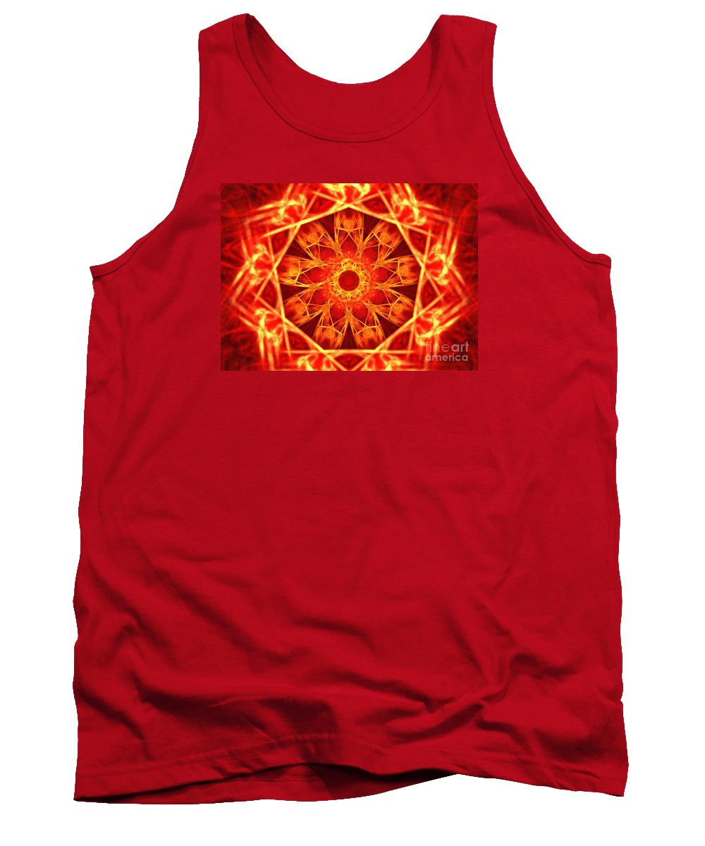 Apophysis Tank Top featuring the digital art Red Dynasty by Kim Sy Ok