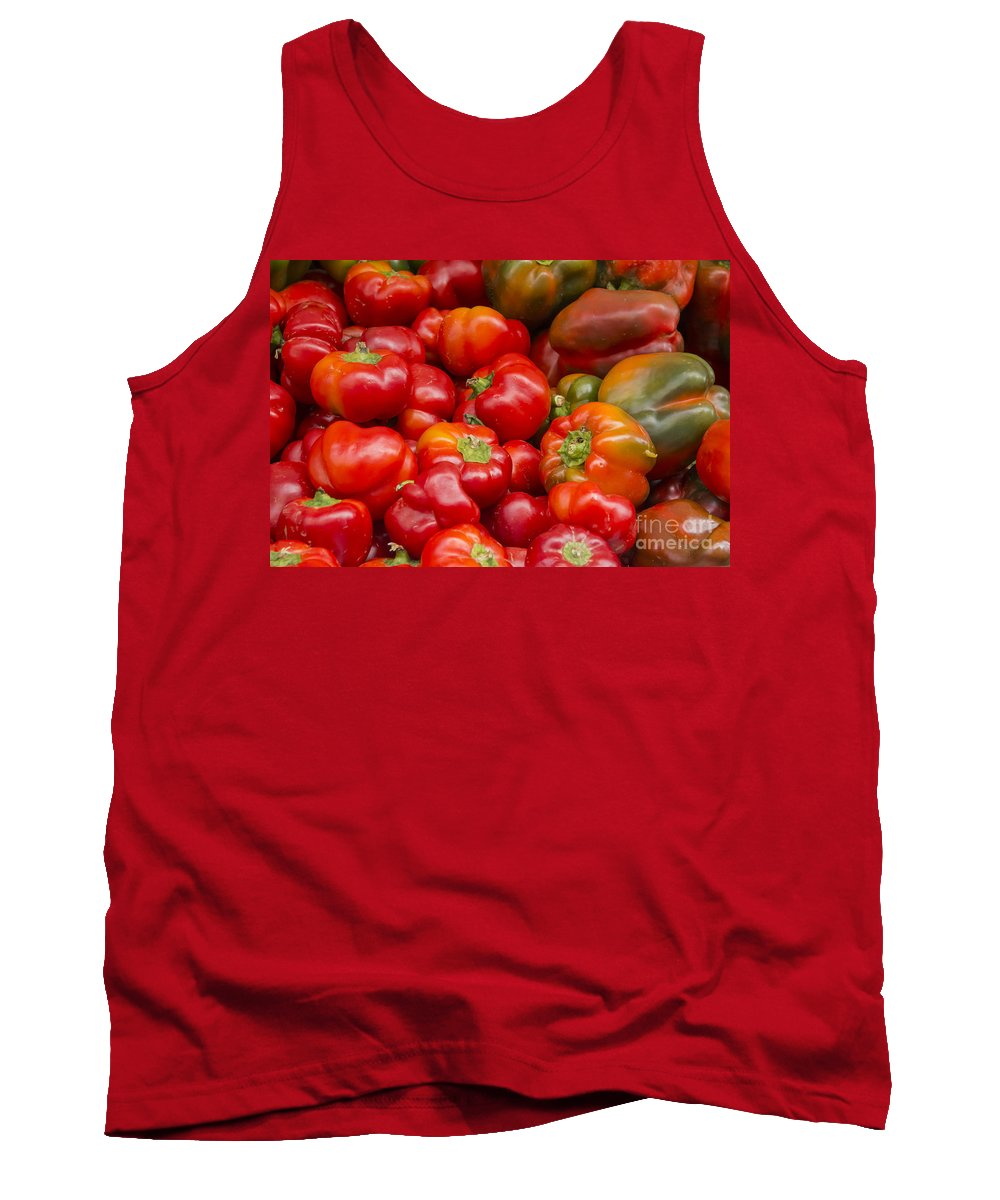 Union Square Greenmarket Pepper Red Peppers Tomato Tomatoes Fruit And Vegetable Market Markets Fruits New York City Tank Top featuring the photograph Red Is The Color by Bob Phillips