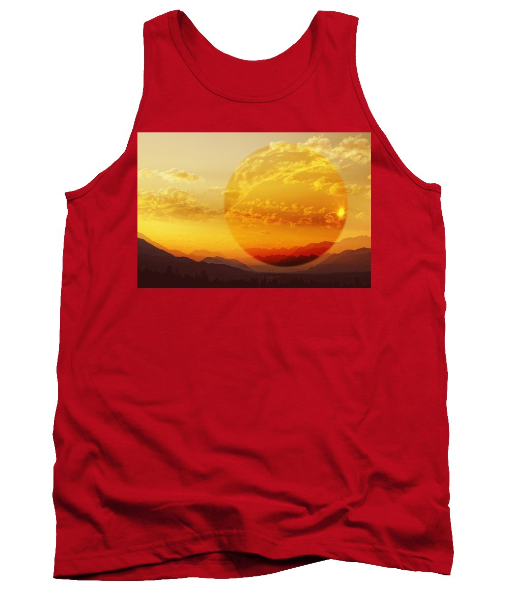Planet Tank Top featuring the digital art Red Planet Sunset by Diane Dugas