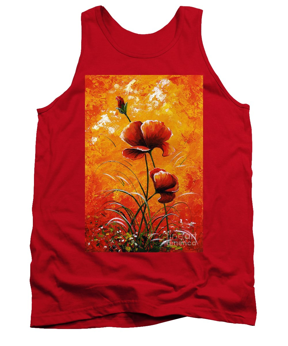 Red Tank Top featuring the painting Red Poppies 023 by Voros Edit