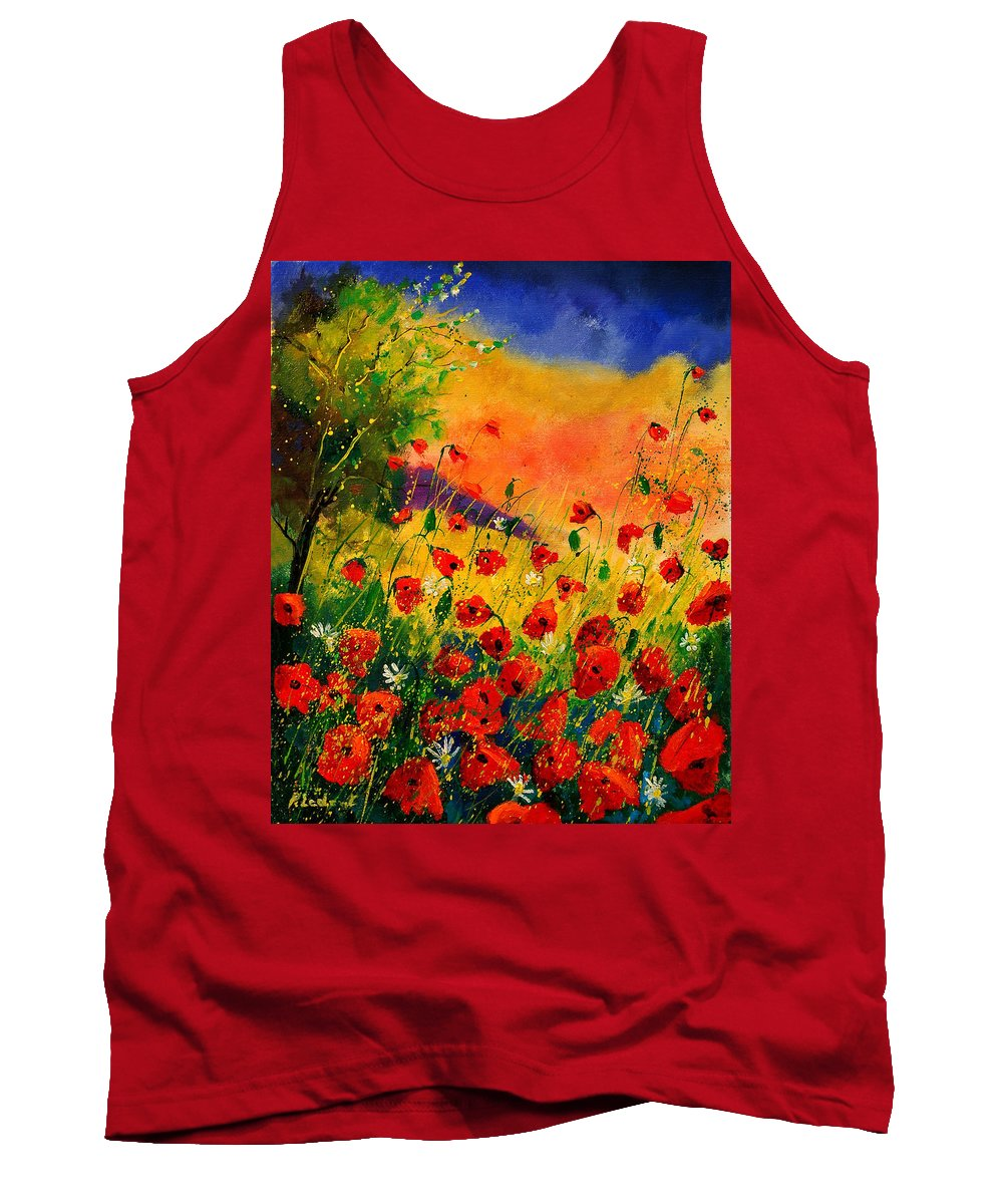 Poppies Tank Top featuring the painting Red Poppies 45 by Pol Ledent