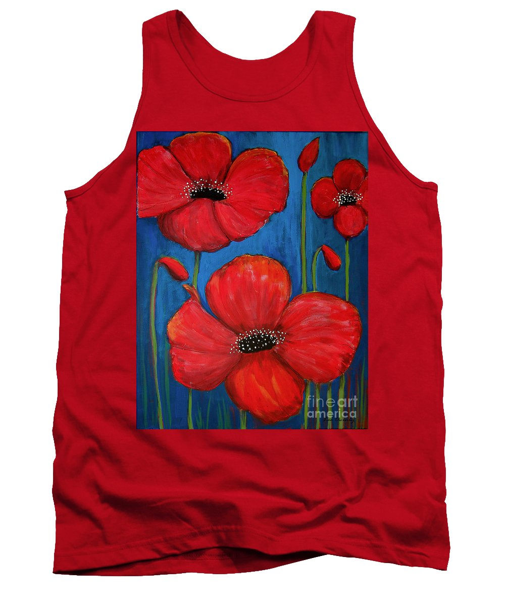 Poppies Tank Top featuring the painting Red Poppies On Blue by Lee Owenby