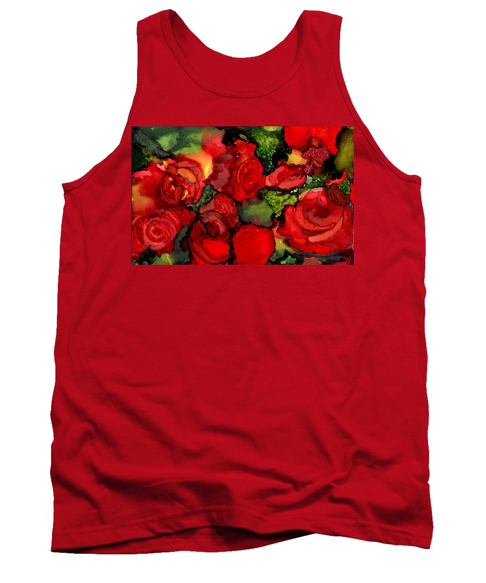 Roses Tank Top featuring the painting Red Roses by Elaine Hodges