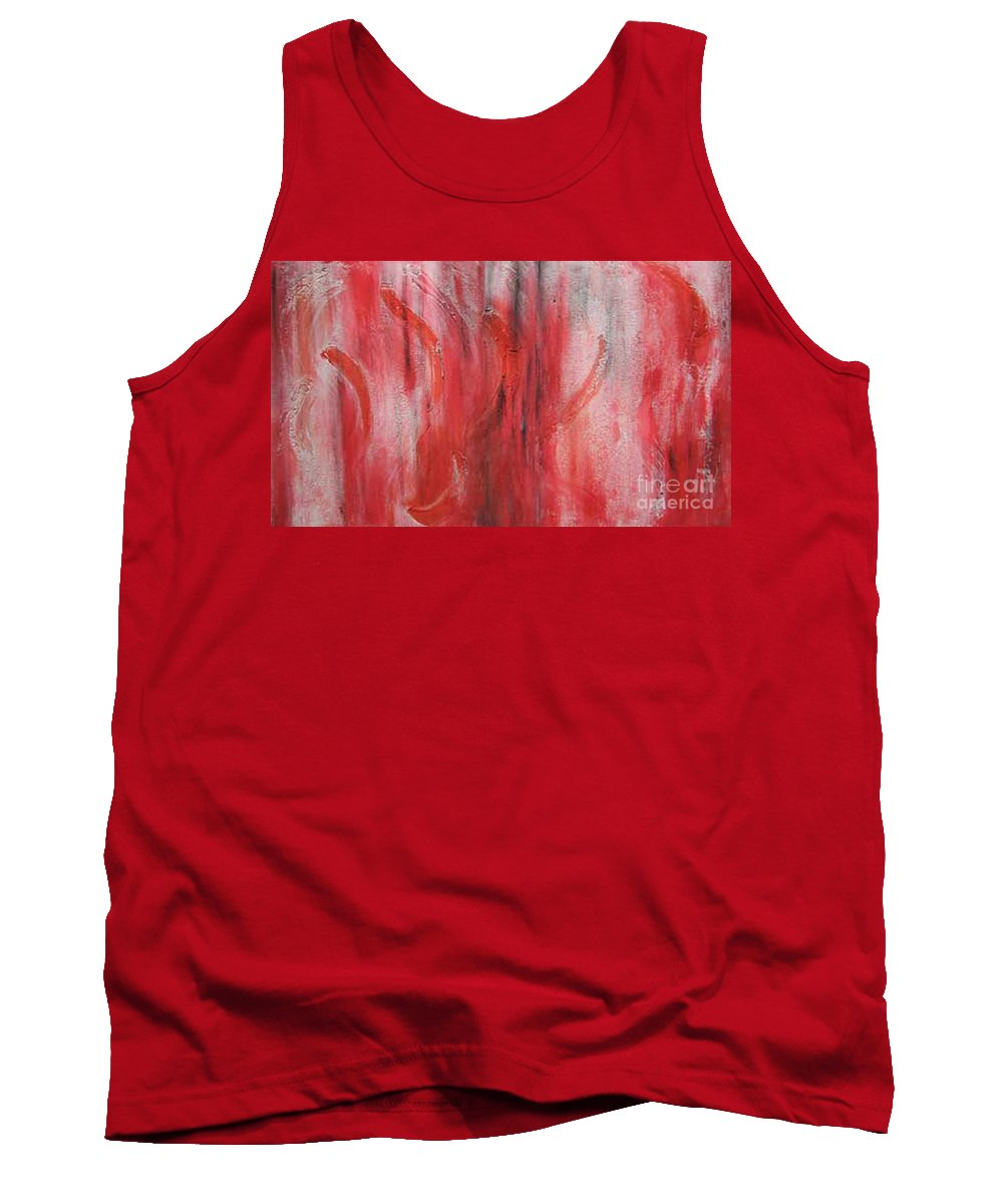 Modern Art Tank Top featuring the painting Red Sea by Silvana Abel