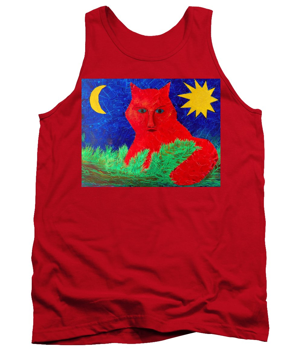 Fantasy Tank Top featuring the painting Red by Sergey Bezhinets